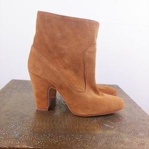 Zara brown suede heeled booties